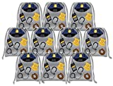 Police Cop Drawstring Bags Kids Birthday Party Supplies Favor Bags 10 Pack