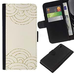 For Sony Xperia Z2 D6502 Case , Clouds Abstract Scale Pattern Beige - la tarjeta de Crédito Slots PU Funda de cuero Monedero caso cubierta de piel