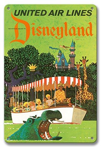 Pacifica Island Art 8in x 12in Vintage Metal Tin Sign - Disneyland California - United Air Lines - Adventureland Jungle Cruise Hippo by Stan Galli