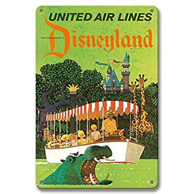 Pacifica Island Art 8in x 12in Vintage Tin Sign - Disneyland California - United Air Lines - Adventureland Jungle Cruise Hippo by Stan Galli