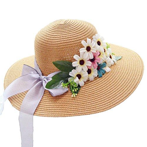 Heart .Attack flowersPure Sunscreen Big Hat Streamer Folding Straw Hat,Khaki,M -