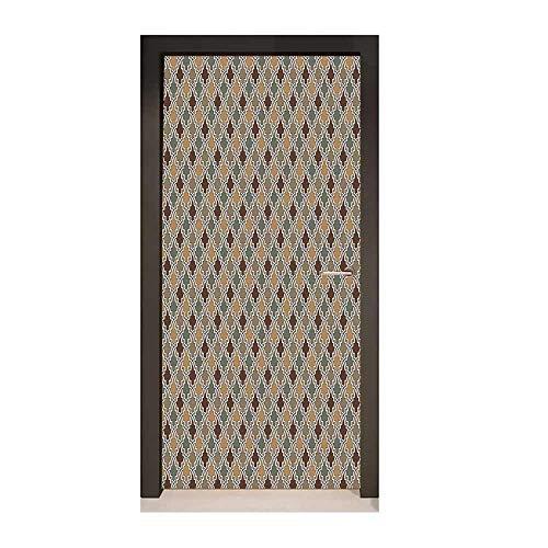 Geometric 3D Door Sticker Antique Eastern Pattern Arabesque Oriental Style Moroccan Influences Creative Self-Adhesive Decoration Tan Brown Sage Green,W23.6xH78.7 ()