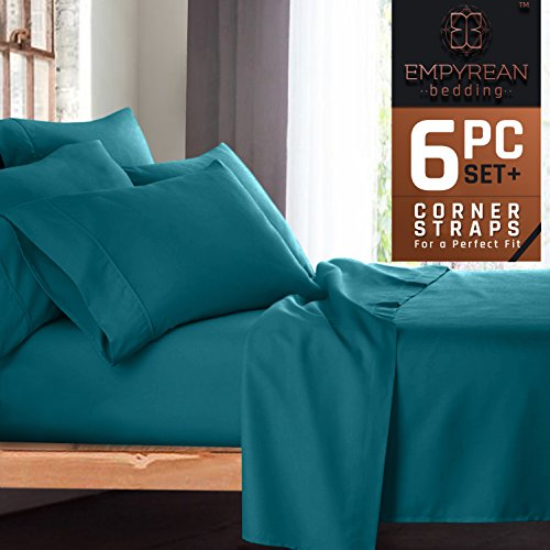 Premium 6-Piece Bed Sheet & Pillow Case Set – Luxurious & Soft Full (Double) Size Linen, Extra Deep Pocket Super Fit Fitted Teal Blue Sheets (Sets Bedding Double)