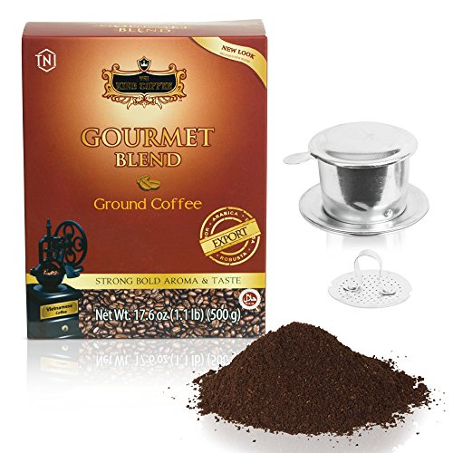 Vietnamese Dark Roast Ground Coffee – 17.6 oz Authentic Gourmet Blend of Arabica, Robusta, Excelsa and Catimor, for a Warming Rich Flavor with Chocolate Overtones, Low Acidity, Med Caffeine