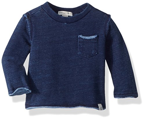 (Burt's Bees Baby Baby Boys' French Terry Denim Wash Sweatshirt, Midnight, 0-3 Months)