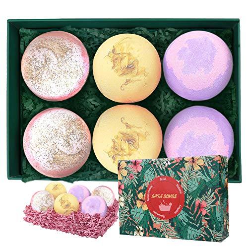 Christmas Gift Bath Bombs Set 6 Packs, Aikotoo Handmade Lush Organic Natural Bubble Bath Bomb Gifts for Women Girls wife girlfriend Adults,Birthday Mothers day Bath Bomb Gift Sets