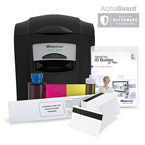 Complete AlphaCard ID Card Printer Bundle: AlphaCard Pilot ID Printer with Mag Stripe Encoding, AlphaCard ID Software, ID Supplies (Complete Mac Compatible Bundle, Pilot Printer with Mag) by AlphaCard