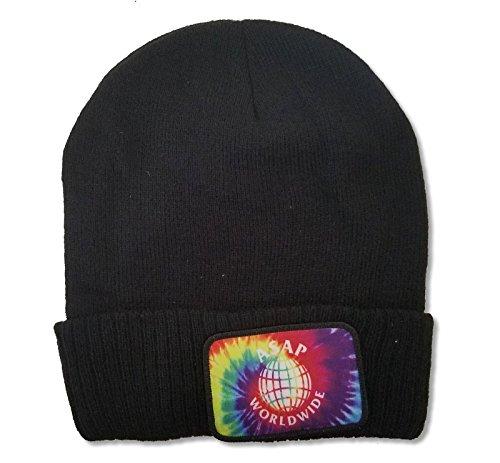 ASAP Worldwide Tie Dye Patch Black Beanie Ski Hat Cap A$AP Mob (Asap Beanie)