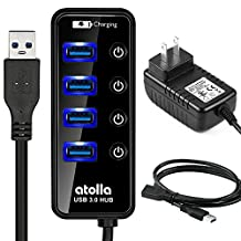 Powered USB Hub, atolla 204U3 USB 3.0 Hub 4 + 1 Data Transfer and Charging Multiport with 15W (5V/3A) Power Supply Adapter and 3.3ft Meter USB 3 Extension Cable (Black) (4Ports Hub+3.3ft Cable+5V3A Adapter)