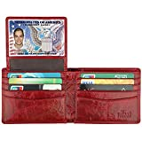 Wallet for Men-Genuine Leather RFID Blocking Bifold Stylish Wallet With 2 ID Window (Red)