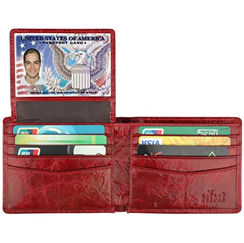 Wallet for Men-Genuine Leather RFID Blocking Bifold Stylish Wallet With 2 ID Window (Red) ()