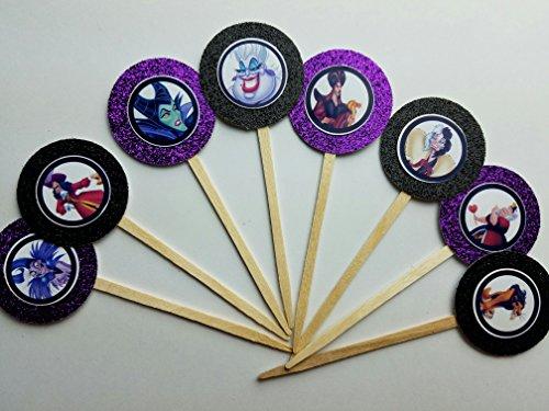8 Villains Cupcake Toppers for Birthday Party Favor Ursula Cruella Jafar maleficent Halloween Decor Cake Birthday