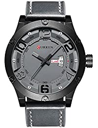 watch men Luxury Brand week Date Leather strap Men Sports Watches Quartz with box 8251 (