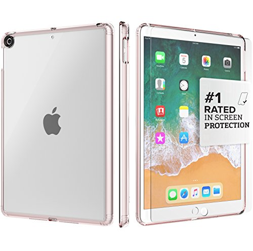New iPad 9.7 Case (2017) - SaharaCase Protective Kit + [ZeroDamage Tempered Glass Screen Protector] Rugged Slim Cover [Shock-Absorbing Bumper] Scratch-Resistant Hard Back - Rose Gold Clear