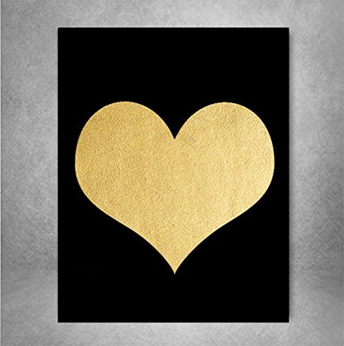 Love Heart Romantic Icon - Heart - Gold Foil Art Print Poster Heart