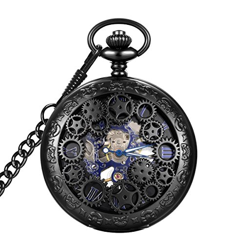LYMFHCH Steampunk Blue Hands Scale Mechanical Skeleton Pocket Watch with Chain As Xmas Fathers Day Gift by LYMFHCH (Image #1)