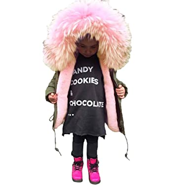 Toddler Baby Girl Boy Winter Cotton Hooded Jacket Overcoat Kid Warm Padded Thick Outerwear Clothes 2