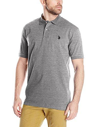 U.S. Polo Assn.. Men's Short Sleeve Interlock Polo, Heather Grey, Large