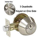 Gobrico Single Cylinder Deadbolt One-side Keyed Security Bolt Door Lockset Round Knob Satin Nickel 3Set