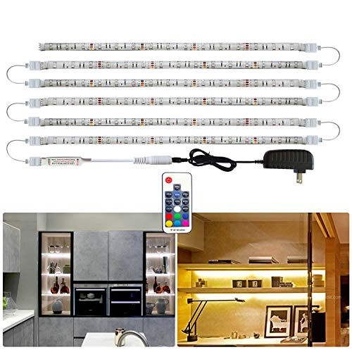Tesfish LED Strip Lights, 6 PCS x 19.6In RGB Under Cabinet Lighting, Backlight, Waterproof LED Color Changing Rope Lights with Power Adapter and Remote for Home Decor, Kitchen, Bedroom, Shelf