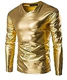 SeaStar Men's Leather Look Underwear Clubwear T-Shirt Dance Top (XXXXXL, Gold)