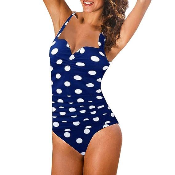 Mujer Traje de Baño Estampado de Lunares Push Up Bañador Bikinis ...