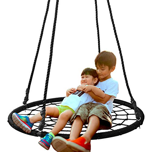 SUPER DEAL 40'' Spider Web Tree Swing Net Swing Platform Rope Swing 71' Detachable Nylon Rope...