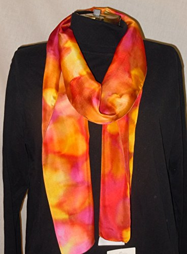 Hand painted silk scarf; original design silk scarf; Multi-colored. orange scarf, yellow scarf, gift for her, One of a kind #S38