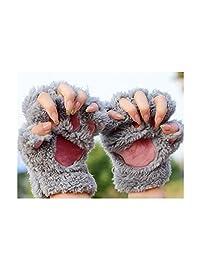 OKDEALS Cute Hand Warmer Mitten Fuzzy Half Finger Gloves Thick Bear's Paw Furry Mitts (grey)
