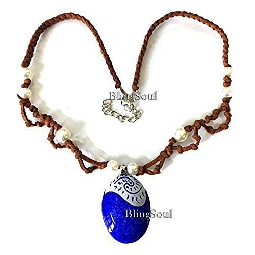 BlingSoul Adventure Moana Blue Seashell Necklace For (Easy Adventure Time Costumes)