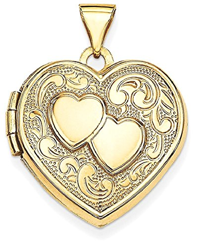 ICE CARATS 14k Yellow Gold Double Heart Photo Pendant Charm Locket Chain Necklace That Holds Pictures by ICE CARATS