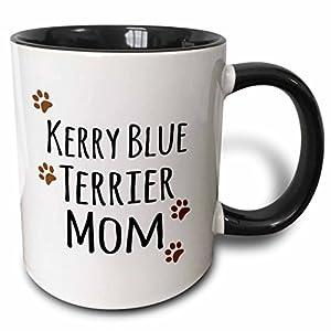 3dRose 154144_4 Kerry Blue Terrier Dog Mom Mug, 11 oz, Black 39
