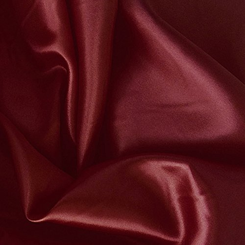 Burgundy Satin Charmeuse Poly Fabric Lightweight Soft 60