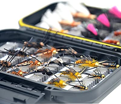 Outdoor Planet Go-to Dry Fly, Wet Fly, Nymph and Streamer Fly Lure Assotment + Waterproof Fly Box for Trout Fly Fishing Flies