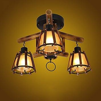 ZWL Lámpara de techo retro, luces de techo de bambú Lámparas ...