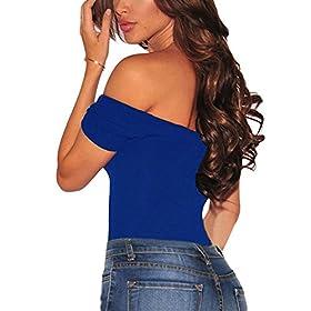 - 51n5cgUXVUL - Women Short Sleeve Off Shoulder Stretchy Bodysuit Leotard Clubwear Romper