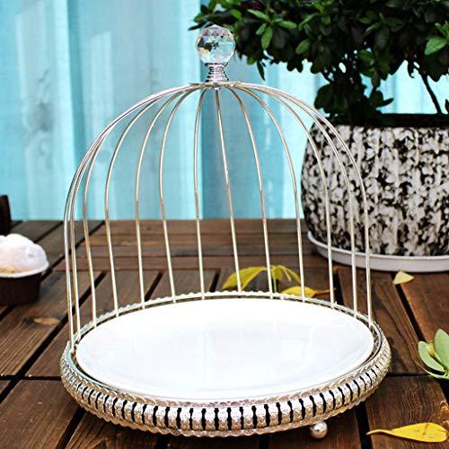 SLK Northern European Dried Fruit Plate Snack Plate Fruit Basket Ceramic Plate Cake Snack Rack (Color : Silver) (Basket Cake Silver)
