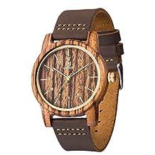 Wood Watch,BIOSTON Natural Handmade Unisex Wrist Watches,Men's Zebra Wooden Watch with Leather Strap(Brown)