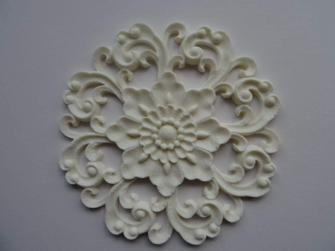 Decorative baroque center x 2 applique onlay resin furniture moulding bcx2
