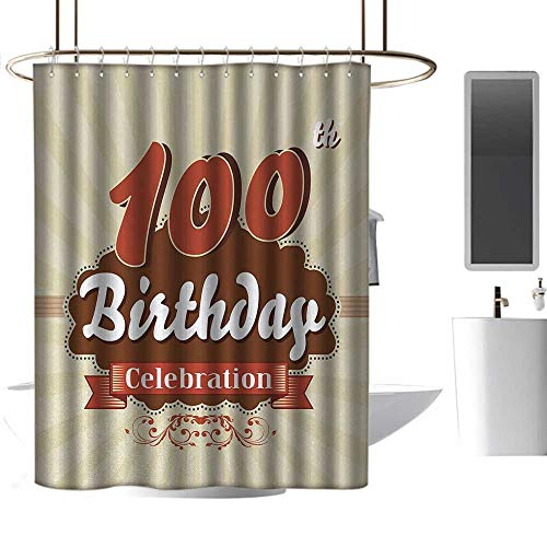 Shower stall Curtains 100th Birthday Chocolate Wrap Like Brown Party Invitation Hundred Years Celebration goof Proof Shower W48 x L84