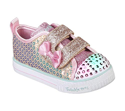 Skechers Kids Girls' Shuffle LITE-Mini Mermaid Sneaker, Gold, 9 Medium US - Toes Twinkle