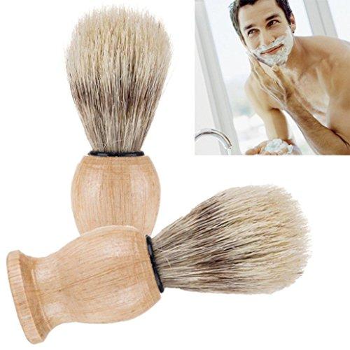 LtrottedJ Men Shaving Bear Brush,Best Badger Hair Shave Wood Handle Razor Barber Tool