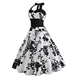 Dresses for Womens,DaySeventh Women Vintage Printing Bodycon Sleeveless Halter Evening Party Prom Swing Dress