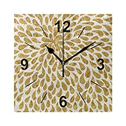 Double Joy Wall Clock Square Flower Petals 8x8 Inches Silent Decorative for Home Office Kitchen Bedroom