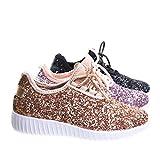Link Remy18k Rose Gold Lace up Rock Glitter Fashion Sneaker For Children/Girl/Kids -3