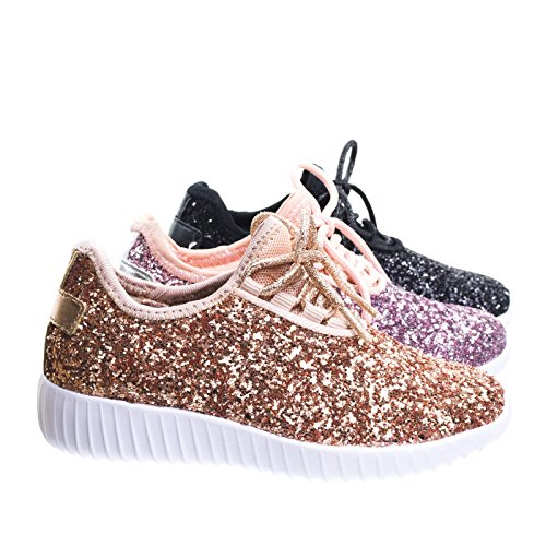 Link Remy18k Pink Lace up Rock Glitter Fashion Sneaker For children/Girl/Kids -9 (4, Rose Gold)
