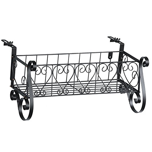 - Black Iron Scrollwork Deck Rail Planter Box with Adjustable Brackets, Large