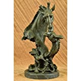 Lovely Large Original African Giraffe with Cub Bronze Sculpture Bust Marble Base Figure