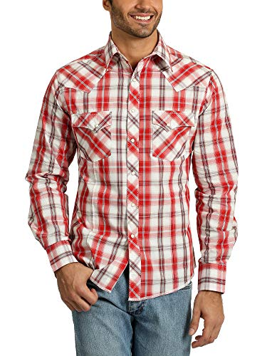 Wrangler Men's Western Fashion Two Pocket Long Sleeve Snap Shirt, Red/White, XL