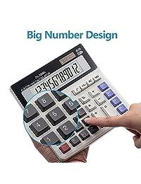 Calculadora Ebristar con función estándar de escritorio, calculadora de batería solar, calculadora de oficina de doble potencia, con pantalla LCD grande de 12 dígitos y teclas de ordenador grandes (batería incluida)
